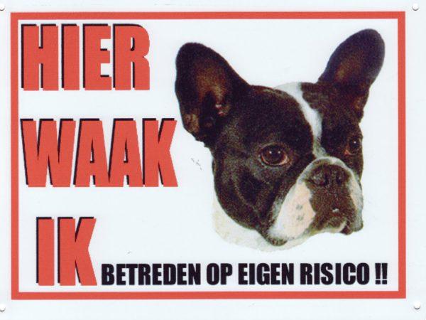 Waakbord Franse Bulldog zwart/wit-0