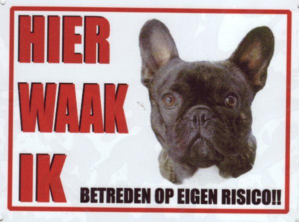 Waakbord Franse Bulldog zwart-0