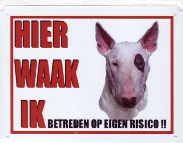 waakbord bull terrier zwart oog