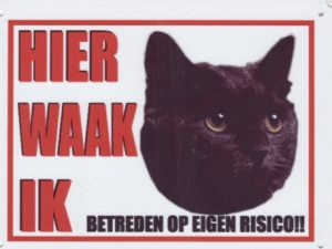 Waakbord Kat zwart-0