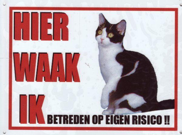 Waakbord Kat zwart-wit -0