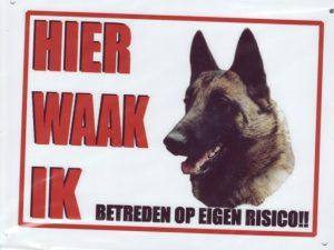 Waakbord Hollandse Herder korthaar zijaanzicht-0