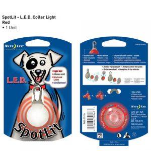 L.E.D. licht voor aan de halsband - Spotlit rood