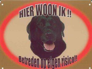 Waakbord - Hier woon ik Labrador zwart-0