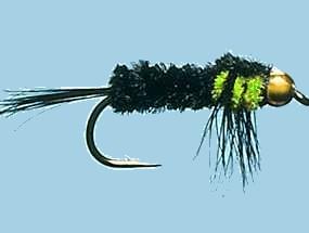 kunstvlieg Gold Head Montana Flu Green 10-0