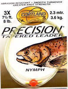 Cortland Precision Leader Nymph 9 foot 3X 8 Lb-0